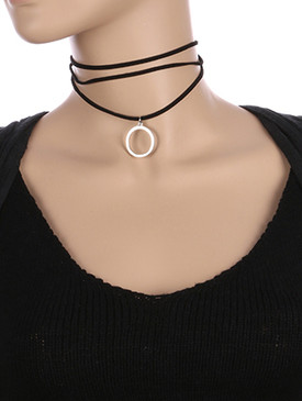 NECKLACE / FAUX LEATHER / MULTI STRAND CHOKER / 12 INCH LONG / 1 INCH DROP / NICKEL AND LEAD COMPLIANT