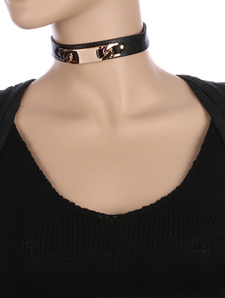 NECKLACE / METAL PLATE LINK / FAUX LEATHER CHOKER / 12 INCH LONG / 3/4 INCH DROP / NICKEL AND LEAD COMPLIANT