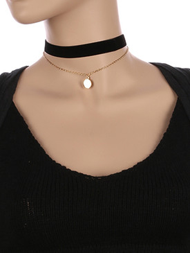 NECKLACE / METAL CHAIN AND / VEVETY FABRIC CHOKER / 2 PC / COIN CHARM / 12 INCH LONG / NICKEL AND LEAD COMPLIANT