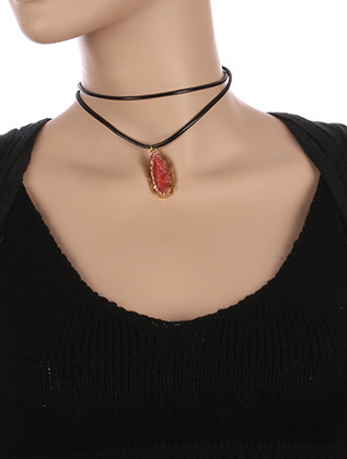 NECKLACE / NATURAL STONE CHARM / FAUX RUBBER CHOKER / METAL SETTING / DOUBLE STRAND / 12 INCH LONG / 1 2/3 INCH DROP / NICKEL AND LEAD COMPLIANT