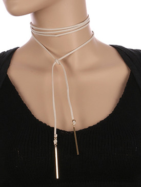 NECKLACE / FAUX SUEDE / WRAPAROUND CHOKER / METAL ROD CHARM / 66 INCH LONG / 2 INCH DROP / NICKEL AND LEAD COMPLIANT