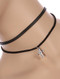 NECKLACE / AGED FINISH METAL / CROSS CHARM CHOKER / HAMMERED / DOUBLE FAUX LEATHER STRAND / 12 INCH LONG / 7/8 INCH DROP / NICKEL AND LEAD COMPLIANT