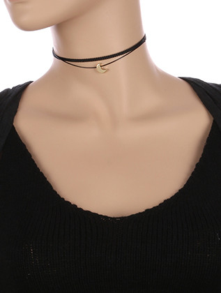 NECKLACE / METAL CRESCENT CHARM / DOUBLE STRAND CHOKER / RIBBON / 12 INCH LONG / 1/2 INCH DROP / NICKEL AND LEAD COMPLIANT