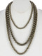 NECKLACE / THREE LAYERED / CHUNKY BEAD / AGED FINISH / METALLIC BEAD / PATTERN ETCHED / 18 INCH LONG / 5 INCH DROP / NICKEL AND LEAD COMPLIANT