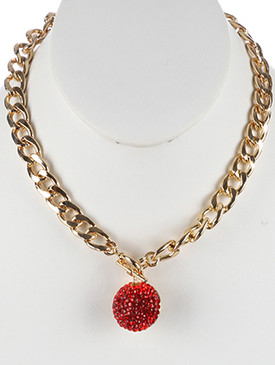 NECKLACE / PAVE CRYSTAL STONE / HOLLOW METAL PENDANT / CUTOUT / LINK / CURB CHAIN / 18 INCH LONG / 1 1/2 INCH DROP / NICKEL AND LEAD COMPLIANT