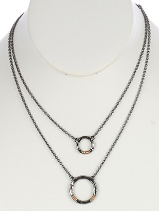 NECKLACE / HAMMERED METAL RING / DOUBLE LAYER / TWO TONE / WIRE WRAPPED / LINK / CHAIN / 16 INCH LONG / 2 INCH DROP / NICKEL AND LEAD COMPLIANT
