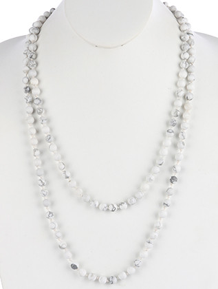 NECKLACE / NATURAL STONE BEAD / EXTRA LONG WRAPAROUND / MALA BEAD / KNOTTED YARN / 56 INCH LONG / 1/4 INCH DROP / NICKEL AND LEAD COMPLIANT