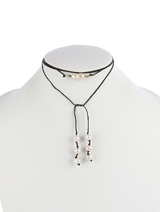 NECKLACE / PEARL CHARM / WRAPAROUND CHOKER / METALLIC BEAD / KNOTTED CORD / 54 INCH LONG / 3/8 INCH DROP / NICKEL AND LEAD COMPLIANT