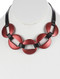 Necklace / Hollow Metal Link / Faux Leather Bib / Matte Finish / 14 Inch Long / 1 1/2 Inch Drop / Nickel And Lead Compliant