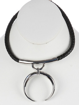 NECKLACE / METAL CRESCENT PENDANT / FAUX LEATHER BIB / BRAIDED / CURVED METAL / 14 INCH LONG / 3 1/4 INCH DROP / NICKEL AND LEAD COMPLIANT