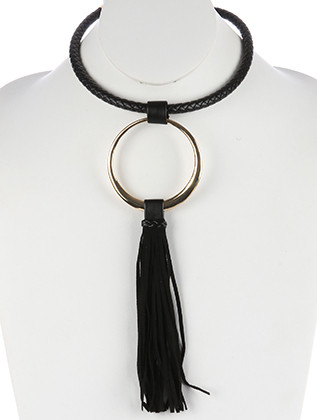 NECKLACE / METAL RING PENDANT / FAUX LEATHER BIB / BRAIDED / FAUX SUEDE TASSEL / 14 INCH LONG / 9 3/4 INCH DROP / NICKEL AND LEAD COMPLIANT