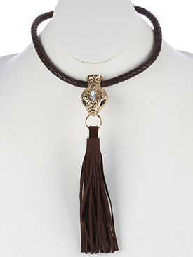 NECKLACE / METAL SNAKE HEAD / FAUX LEATHER BIB / BRAIDED / TEXTURED / MARQUISE GLASS STONE / 14 INCH LONG / 7 1/2 INCH DROP / NICKEL AND LEAD COMPLIANT