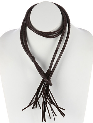 NECKLACE / BRAIDED FAUX LEATHER / WRAPAROUND / FAUX SUEDE TASSEL / DOUBLE STRAND / PULL THROUGH / 34 INCH LONG / 5 INCH DROP / NICKEL AND LEAD COMPLIANT