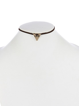 NECKLACE / MESSAGE CHARM / FAUX SUEDE CHOKER / LOVE / METAL TRIANGLE / 12 INCH LONG / 3/4 INCH DROP / NICKEL AND LEAD COMPLIANT