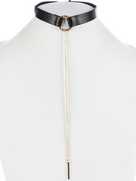 NECKLACE / HAMMERED METAL RING / FAUX LEATHER CHOKER / LONG CHAIN DROP / METALLIC BEAD CHARM / 12 INCH LONG / 9 1/2 INCH DROP / NICKEL AND LEAD COMPLIANT