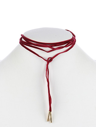 NECKLACE / VELVET FABRIC / WRAPAROUND CHOKER / METALLIC BEAD / 68 INCH LONG / 3/4 INCH DROP / NICKEL AND LEAD COMPLIANT