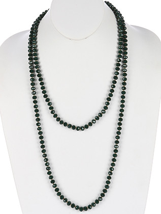 NECKLACE / IRIDESCENT GLASS BEAD / EXTRA LONG WRAPAROUND / METALLIC BEAD / 60 INCH LONG / 1/4 INCH DROP / NICKEL AND LEAD COMPLIANT