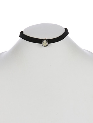 NECKLACE / SHIMMER FINISH NATURAL STONE / ELASTIC BAND CHOKER / PAVE CRYSTAL STONE / TEARDROP / METAL FRAME / 12 INCH LONG / 2/3 INCH DROP / NICKEL AND LEAD COMPLIANT
