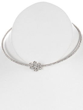 NECKLACE / SNOWFLAKE RHINESTONE / COIL WIRE CHOKER / WEDDING / FORMAL / 5 INCH DIAMETER / 3/4 INCH DROP / NICKEL AND LEAD COMPLIANT