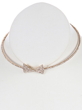 NECKLACE / METAL BOW RHINESTONE / COIL WIRE CHOKER / WEDDING / FORMAL / 5 INCH DIAMETER / 2/3 INCH DROP / NICKEL AND LEAD COMPLIANT