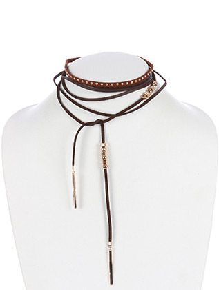 NECKLACE / FAUX SUEDE / WRAPAROUND CHOKER / 2 PC / METALLIC BEAD / STUDS / 72 INCH LONG / 1 3/4 INCH DROP / NICKEL AND LEAD COMPLIANT