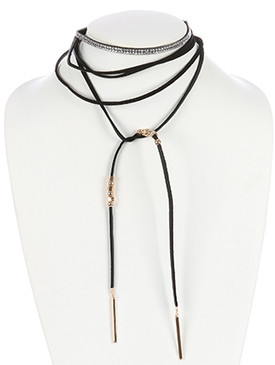 NECKLACE / FAUX LEATHER / WRAPAROUND CHOKER / 2 PC / METALLIC BEAD / PAVE CRYSTAL STONE / 72 INCH LONG / 1 3/4 INCH DROP / NICKEL AND LEAD COMPLIANT