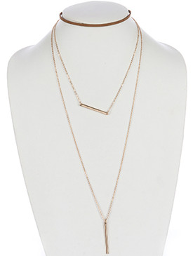 NECKLACE / THREE LAYER / FAUX LEATHER CHOKER / LAYERED CHAIN / METAL BAR ROD / 12 INCH LONG / 10 INCH DROP / NICKEL AND LEAD COMPLIANT