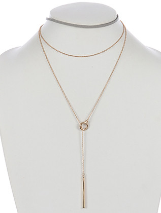 NECKLACE / 2 PC / FAUX LEATHER CHOKER / PULL THROUGH CHAIN / METAL ROD / 12 INCH LONG / 14 INCH DROP / NICKEL AND LEAD COMPLIANT
