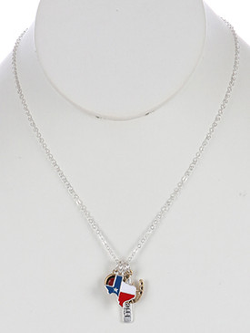 NECKLACE / STATE OF TEXAS / CHARM / EPOXY COATED METAL / MATTE FINISH / TWO TONE / MESSAGE / FRIENDSHIP / HORSESHOE / GLASS STONE CHARM / 18 INCH LONG / 1 1/4 INCH DROP / NICKEL AND LEAD COMPLIANT