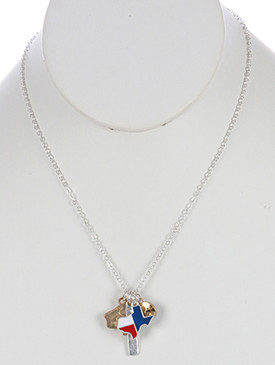 NECKLACE / STATE OF TEXAS / CHARM / EPOXY COATED METAL / MATTE FINISH / TWO TONE / CUTOUT HEART / GLASS STONE CHARM / 18 INCH LONG / 1 1/4 INCH DROP / NICKEL AND LEAD COMPLIANT