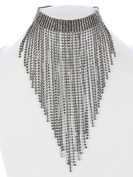 NECKLACE / FRINGE RHINESTONE / METAL CHOKER / WEDDING / FORMAL / 12 INCH LONG / 8 1/2 INCH DROP / NICKEL AND LEAD COMPLIANT