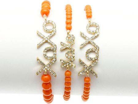 XOXO Bead Stretch Bracelet 3pcs