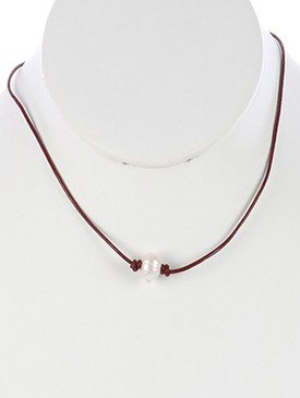 NECKLACE / KNOTTED RUBBER CORD / PEARL CHARM / 18 INCH LONG / 3/8 INCH DROP / NICKEL AND LEAD COMPLIANT