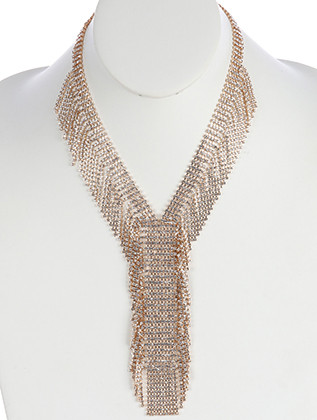 NECKLACE / RHINESTONE / LAYERED FRINGE / WEDDING / FORMAL / 18 INCH LONG / 5 1/2 INCH DROP / NICKEL AND LEAD COMPLIANT