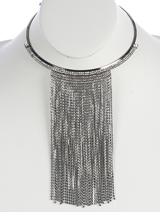 NECKLACE / FRINGE RHINESTONE / METAL CHOKER / WEDDING / FORMAL / 5 INCH DIAMETER / 6 INCH DROP / NICKEL AND LEAD COMPLIANT