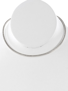 NECKLACE / PAVE CRYSTAL STONE / CUFF CHOKER / FLEXIBLE / OPEN ENDED / 5 INCH DIAMETER / 1/2 INCH DROP / NICKEL AND LEAD COMPLIANT