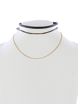 NECKLACE / FAUX LEATHER / 2 PC CHOKER / HOLLOW METAL BEAD / DOUBLE RUBBER CORD CHAIN / 12 INCH LONG / 1/4 INCH DROP / NICKEL AND LEAD COMPLIANT
