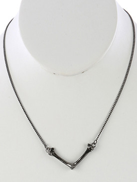 NECKLACE / METAL BONE / HALLOWEEN BIB / METALLIC FINISH / V SHAPE / 16 INCH LONG / 1 INCH DROP / NICKEL AND LEAD COMPLIANT