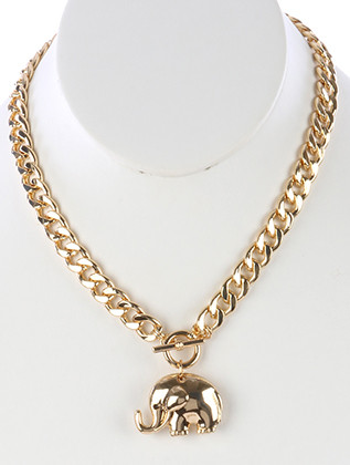 NECKLACE / HOLLOW ELEPHANT PENDANT / CHUNKY BIB / PAVE CRYSTAL STONE / CURB CHAIN / TOGGLE CLOSURE / 16 INCH LONG / 1 1/2 INCH DROP / NICKEL AND LEAD COMPLIANT
