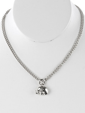 NECKLACE / HOLLOW ELEPHANT PENDANT / PAVE CRYSTAL STONE BIB / CURB CHAIN / TOGGLE CLOSURE / 16 INCH LONG / 1 INCH DROP / NICKEL AND LEAD COMPLIANT