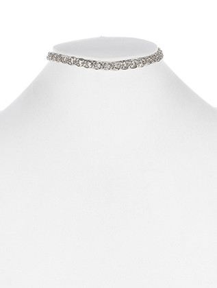 NECKLACE / DOUBLE LINK / CHAIN CHOKER / 12 INCH LONG / 1/4 INCH DROP / NICKEL AND LEAD COMPLIANT