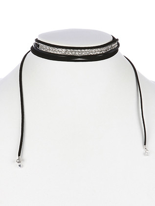 NECKLACE / CURVED METAL CHOKER / FAUX SUEDE WRAPAROUND / PAVE CRYSTAL STONE / 72 INCH LONG / 1/3 INCH DROP / NICKEL AND LEAD COMPLIANT