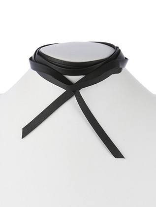 NECKLACE / FAUX LEATHER / WRAPAROUND CHOKER / 70 INCH LONG / NICKEL AND LEAD COMPLIANT