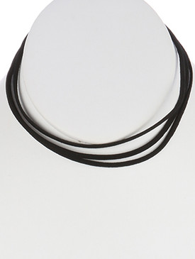 NECKLACE / FAUX SUEDE / THREE STRAND CHOKER / 12 INCH LONG / NICKEL AND LEAD COMPLIANT