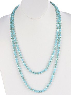 NECKLACE / IRIDESCENT GLASS BEAD / EXTRA LONG WRAPAROUND / 60 INCH LONG / 1/4 INCH DROP / NICKEL AND LEAD COMPLIANT