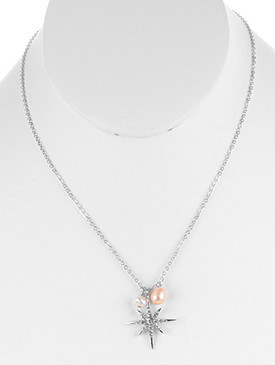 NECKLACE / METAL STARBURST PENDANT / PEARL CHARM / PAVE CRYSTAL STONE / LINK / CHAIN / 18 INCH LONG / 1 1/8 INCH DROP / NICKEL AND LEAD COMPLIANT