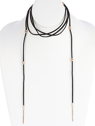 NECKLACE / FAUX SUEDE / OPEN END / MATTE FINISH METAL / METALLIC BEAD / 75 INCH LONG / 1 3/4 INCH DROP / NICKEL AND LEAD COMPLIANT