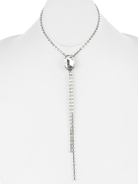 NECKLACE / FACETED GLASS STONE / RHINESTONE CHOKER / METAL LINK / 12 INCH LONG / 8 INCH DROP / NICKEL AND LEAD COMPLIANT