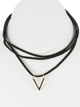 NECKLACE / TRIANGLE CUTOUT CHARM / FAUX SUEDE / LAYERED / 12 INCH LONG / 1 INCH DROP / NICKEL AND LEAD COMPLIANT