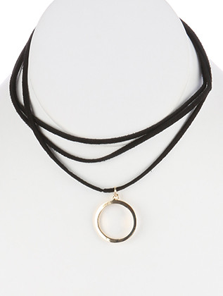 NECKLACE / CIRCLE CUTOUT CHARM / FAUX SUEDE / LAYERED / 12 INCH LONG / 1 INCH DROP / NICKEL AND LEAD COMPLIANT